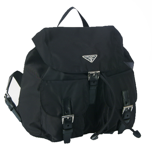 Prada BZ0001 Tessuto Medium Trim Backpack - Black